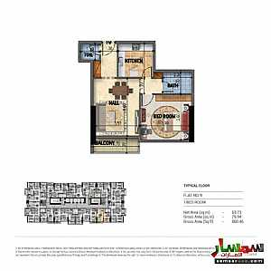 Apartment 1 bedroom 2 baths 80 sqm extra super lux For Sale Abu Shagara Sharjah - 1
